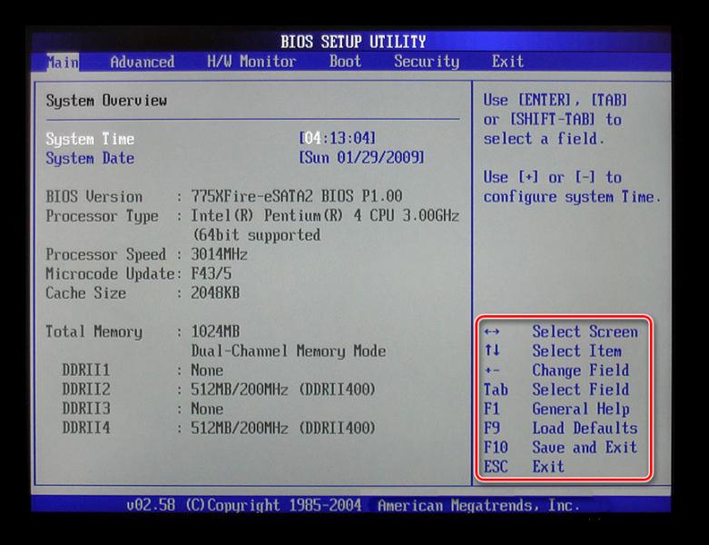Подсказка в BIOS