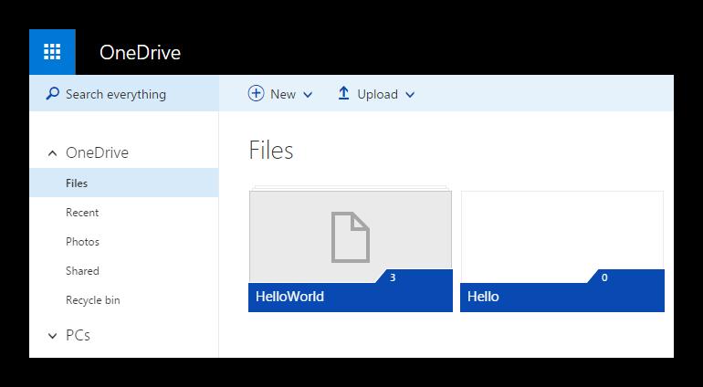OneDrive screen
