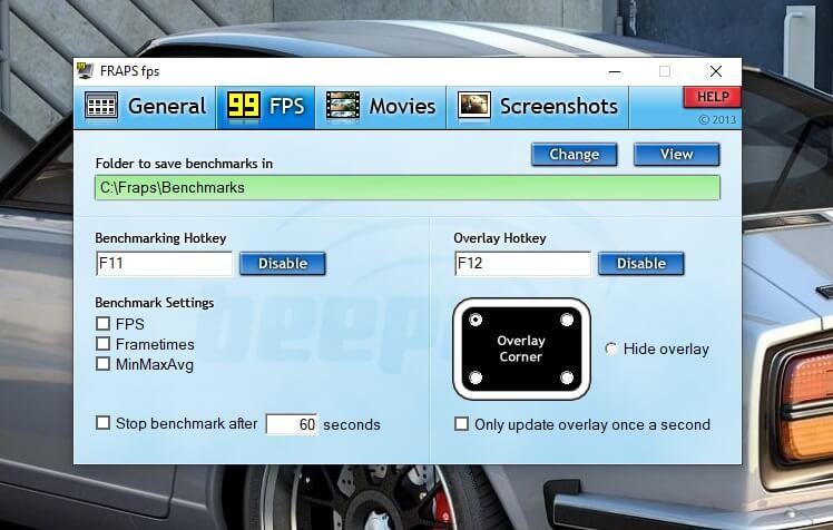 FRAPS запись с экрана